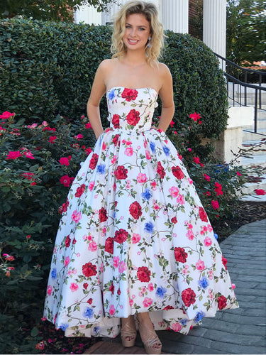 High Low Prom Dresses Strapless A-line Floral Print Long Prom Dress JKL907|Annapromdress