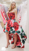 Beautiful Prom Dresses Strapless A-line Rose Floral Print Long Prom Dress JKL909|Annapromdress