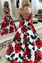 Open Back Prom Dresses A Line Straps Rose Floral Print Long Prom Dress JKL910|Annapromdress