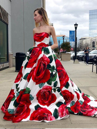 Chic Prom Dresses A Line Rose Floral Print Sweep Train Long Prom Dress JKL911|Annapromdress