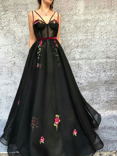 Black Prom Dresses Spaghetti Straps A Line Embroidery Long Prom Dress JKL912|Annapromdress