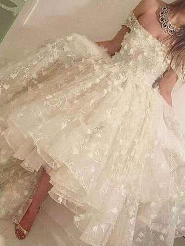 High Low Prom Dresses A-line Off-the-shoulder Long Chic Lace Prom Dress JKL913|Annapromdress