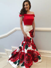 Two Piece Prom Dresses Trumpet Rose Floral Print Long Mermaid Prom Dress JKL914|Annapromdress
