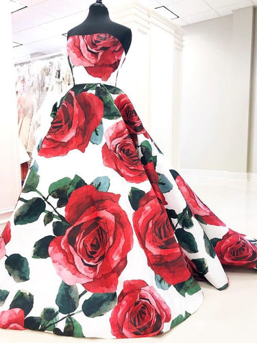 Ball Gown Prom Dresses Rose Floral Print Sweep Train Long Prom Dress JKL915|Annapromdress