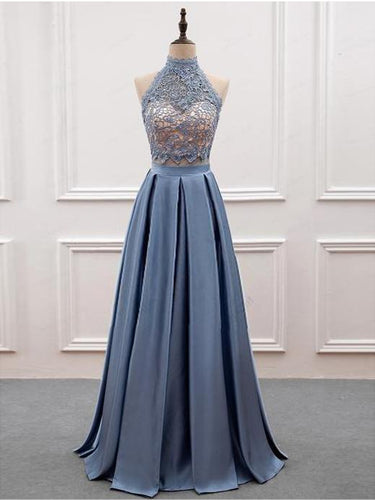 Two Piece Prom Dresses High Neck A-line Floor-length Lace Prom Dress JKL916|Annapromdress