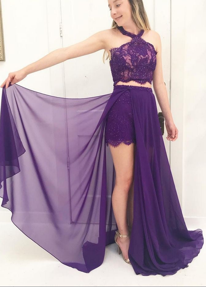 00efb55b5608 ... Two Piece Prom Dresses Halter A-line Floor-length Sexy Long Prom Dress  JKL917 ...