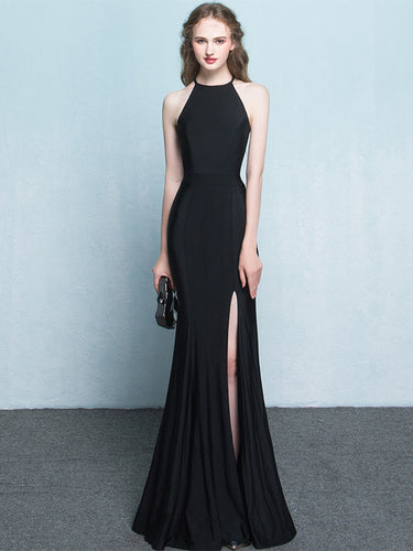 Black Prom Dresses Halter Mermaid Jersey Simple Long Slit Prom Dress JKL919|Annapromdress