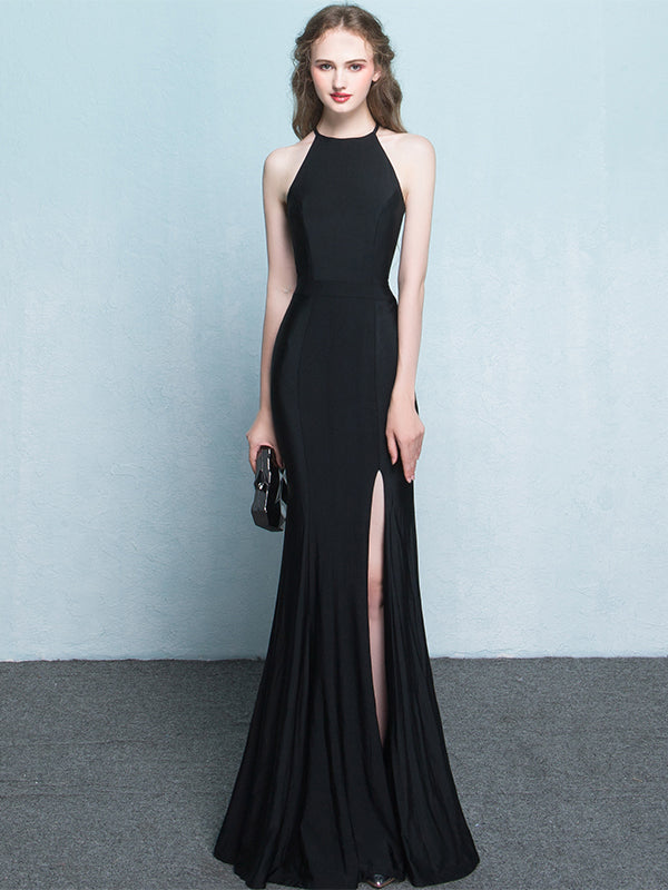 Black Prom Dresses Halter Mermaid Jersey Simple Long Slit Prom Dress