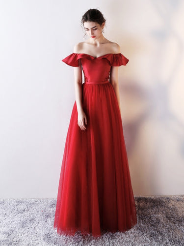 Burgundy Prom Dresses Off-the-shoulder A-line Long Beading Prom Dress JKL920|Annapromdress