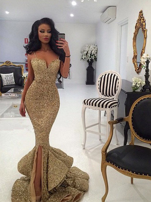 Sparkly Prom Dresses Spaghetti Straps Mermaid Gold Long Prom Dress