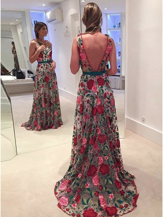 Beautiful Prom Dresses Scoop Aline Rose Floral Embroidery Lace Prom Dress JKL924|Annapromdress