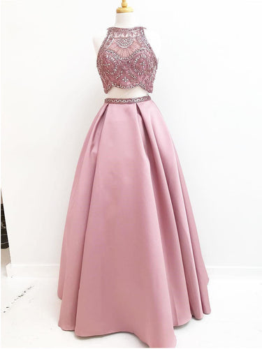 Two Piece Prom Dresses Scoop A-line Sparkly Satin Long Beading Prom Dress JKL925|Annapromdress