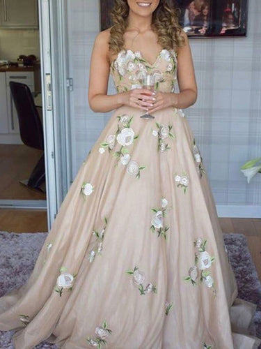 Long Prom Dresses Aline Sweetheart Embroidery Floor-length Chic Prom Dress JKL926|Annapromdress