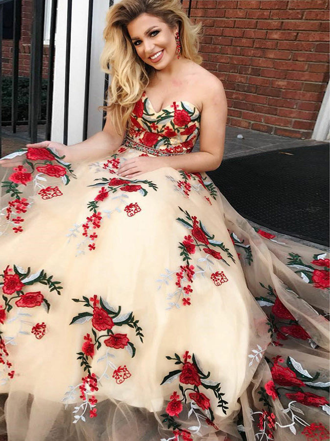 Beautiful Prom Dresses Sweetheart A-line Embroidery Tulle Long Prom Dress JKL927|Annapromdress