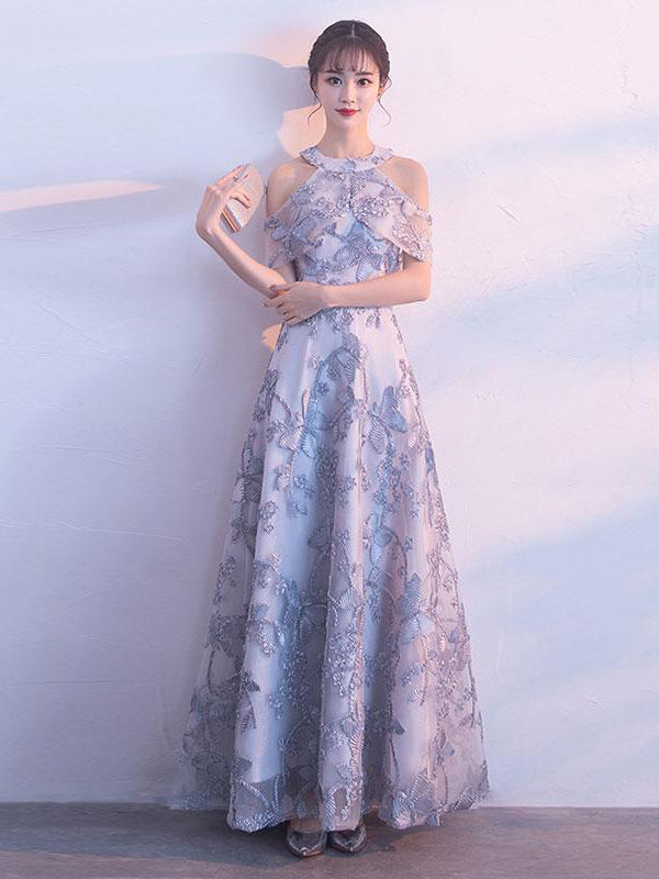 Lace Prom Dresses A Line Halter Floor-length Tulle Long Chic Prom ...