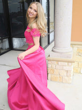 Two Piece Prom Dresses Off-the-shoulder A Line High Low Long Prom Dress JKL929|Annapromdress