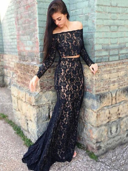 Two Piece Prom Dresses Long Sleeve Mermaid Black Lace Sexy Prom