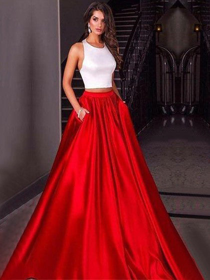 Two Piece Prom Dresses Halter A Line White And Red Long Simple Prom