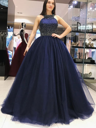 Sparkly Prom Dresses Halter Aline Dark Navy Beading Tulle Long Prom Dress JKL940|Annapromdress