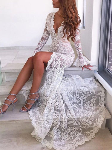 Beautiful Prom Dresses V-neck Mermaid White Lace Slit Long Prom Dress JKL942|Annapromdress