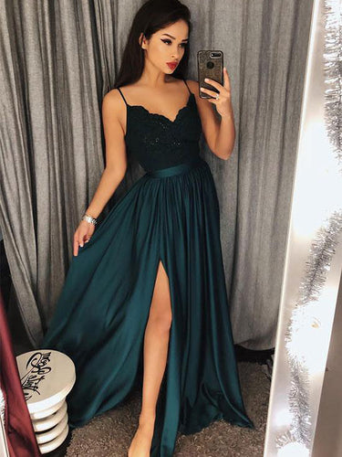 Simple Prom Dresses Spaghetti Straps A-line Long Cheap Prom Dress JKL943|Annapromdress