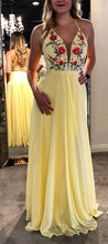 Chic Prom Dresses A Line Criss-cross Straps Embroidery Long Yellow Prom Dress JKL946|Annapromdress