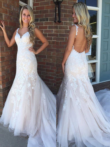 Mermaid Prom Dresses Straps Appliques Long Tulle Backless Prom Dress JKL948|Annapromdress
