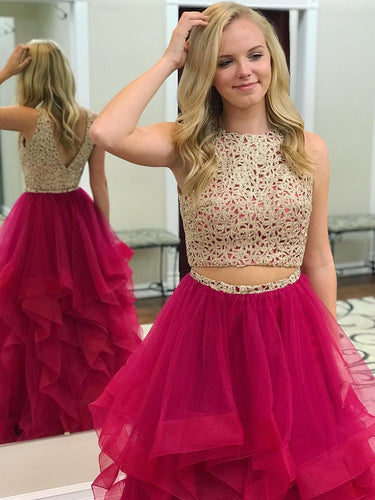 Two Piece Prom Dresses Scoop Floor-length Long Gold Fuchsia Chic Prom Dress JKL951|Annapromdress