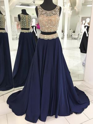 Two Piece Prom Dresses Scoop Aline Rhinestone Beading Long Prom Dress JKL952|Annapromdress