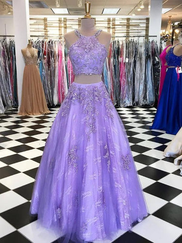 Two Piece Prom Dresses Halter Aline Tulle Long Chic Lace Lilac Prom Dress JKL955|Annapromdress