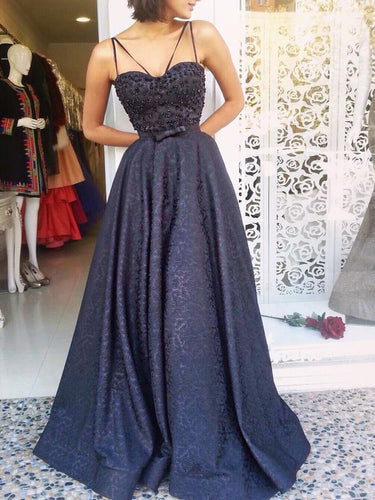 Sexy Prom Dresses Spaghetti Straps A-line Bowknot Long Beading Prom Dress JKL956|Annapromdress
