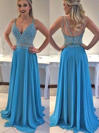 Sexy Prom Dresses Spaghetti Straps A-line Beading Long Sparkly Prom Dress JKL958|Annapromdress
