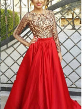 Red Prom Dresses Bateau A-line Long Sleeve Open Back Gold Lace Prom Dress JKL959|Annapromdress