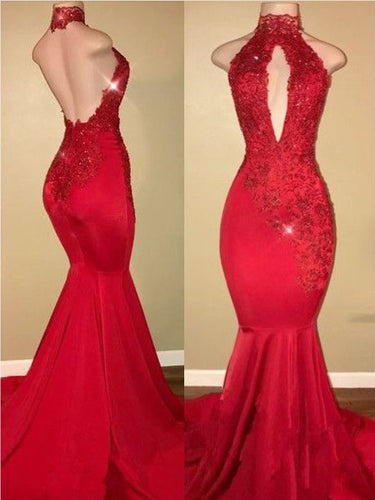 Open Back Prom Dresses High Neck Mermaid Prom Dress Sexy Evening Dress JKL961|Annapromdress