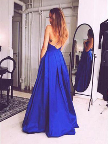 Simple Prom Dresses Spaghetti Straps Open Back Long Prom Dress JKL964|Annapromdress