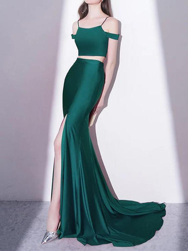 Two Piece Prom Dresses Mermaid Simple Long Prom Dress Sexy Evening Dress JKL967|Annapromdress