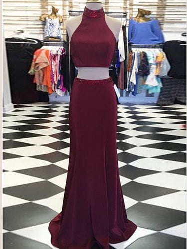 Two Piece Prom Dresses High Neck Sheath Long Burgundy Prom Dress JKL968|Annapromdress