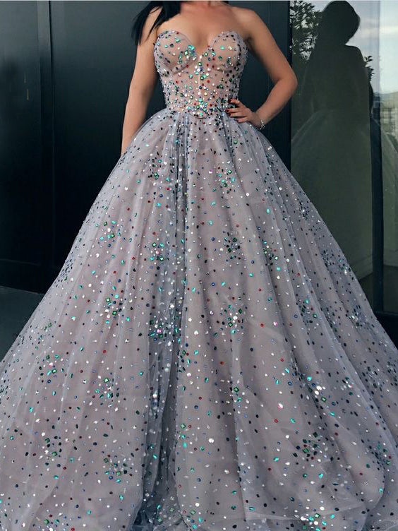 Ball Gown Prom Dresses Sweetheart Rhinestone Long Sparkly Prom Dress JKL972|Annapromdress