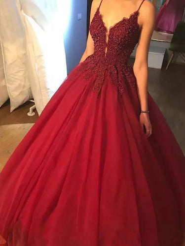 Burgundy Prom Dresses Spaghetti Straps Ball Gown Long Beading Prom Dress JKL973|Annapromdress
