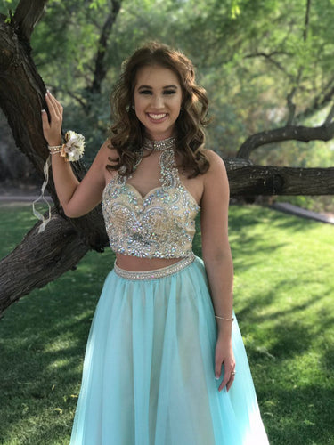 Two Piece Prom Dresses High Neck A-line Long Beading Chic Prom Dress JKL976|Annapromdress