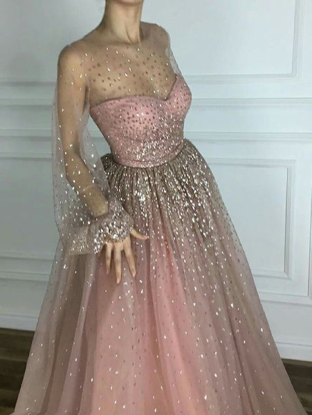 Sparkly Prom Dresses Scoop A line Floor-length Long Chic Prom Dress JKL980|Annapromdress