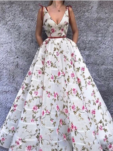 Chic Prom Dresses Straps V-neck Long Embroidery Floral Prom Dress JKL981|Annapromdress