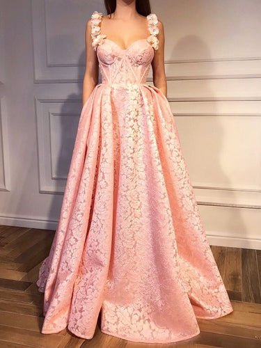 Pink Prom Dresses Straps A-line Floor-length Sexy Luxury Prom Dress JKL982|Annapromdress