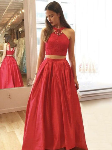 Two Piece Prom Dresses Halter Floor-length Aline Chic Lace Prom Dress JKL986|Annapromdress