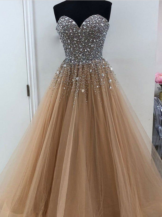Chic Prom Dresses Sweetheart A line Beading Prom Dress Sexy Evening Dress JKL987|Annapromdress
