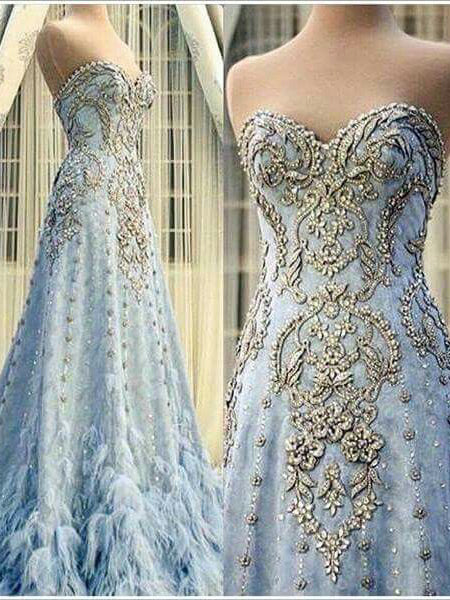 Luxury Prom Dresses Sweetheart A-line Sparkly Plume Long Prom Dress JKL989|Annapromdress