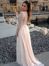 Long Sleeve Prom Dresses Bateau A-line Beading Long Sexy Prom Dress JKL990|Annapromdress