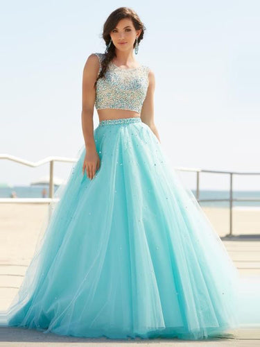 Two Piece Prom Dresses Aline Sparkly Prom Dress Sexy Evening Dress JKL991|Annapromdress