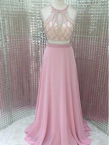 Two Piece Prom Dresses Scoop A-line Long Beading Chic Pink Prom Dress JKL992|Annapromdress