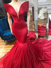 Mermaid Prom Dresses off-the-shoulder Sweep Train Chic Red Prom Dress JKL994|Annapromdress